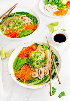 Vegan Pho - Monkey and Me Kitchen Adventures Vegan Dinner Recipes, Lunch Recipes, Soup Recipes, Whole Food Recipes, Vegetarian Recipes, Healthy Recipes, Vegan Vegetarian, Healthy Soups, Vegans