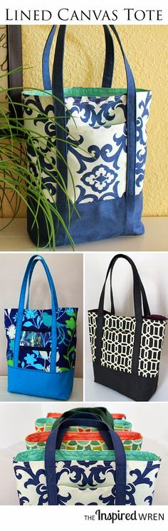 Great sewing tutorial for a classic lined canvas tote. | The Inspired Wren. Tote bag, pretty, crafting idea