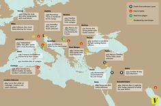 """In the century AD, more than twenty Roman emperors died in a period of 37 years. This map shows where and how some of them died. [[MORE]]Quoting the introductory paragraphs from this wiki page: """"The Crisis of the Third Century, also known as. Ancient Aliens, Ancient Rome, Ancient History, Ancient Greece, Roman Empire Map, Introductory Paragraph, Bible Mapping, Anthropologie, Geography"""