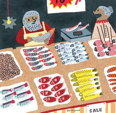 Elise Gravel illustration • fish • market • art • drawing • children • colorful •