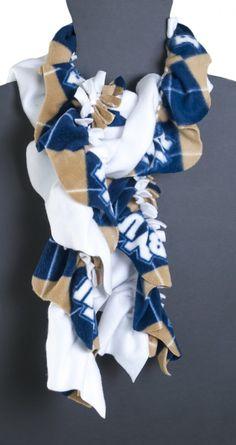 A no-sew ruffled fleece scarf