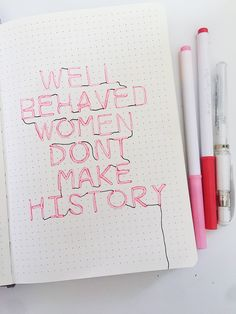A bullet journal spread of hand lettered feminist quote made to look like a neon sign. Bullet Journal Tracker, Bullet Journal School, Bullet Journal Quotes, Bullet Journal Notebook, Bullet Journal Inspo, Bullet Journal Spread, Bullet Journal Brands, Bullet Journal Project Planning, Bullet Journal Title Page