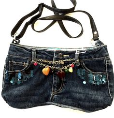 Recycled Retro Blue Jean Purse by jeanoligy on Etsy