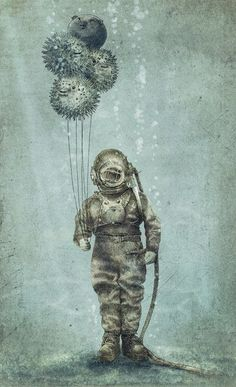 A-man-in-an-antique-diving-suit-holds-puffer-fish-as-balloons-in-this-quirky-steampunk-illustration-by-Eric-Fan.jpg 400×657 pixeles