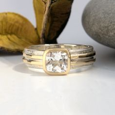 White topaz banded yellow gold and silver ring Gold And Silver Rings, Silver Jewelry, Bespoke Jewellery, Bronze Sculpture, White Topaz, Metal Working, Wedding Rings, Engagement Rings, Band