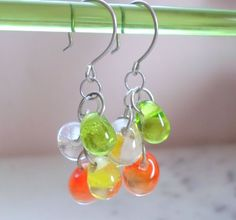 handmade glass spring berry earrings are unique handmade jewellery for her...