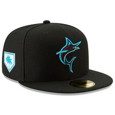 Buy Men's New Era Black Miami Marlins 2019 Spring Training Fitted Hat at JCPenny's Sport Fan Shop. Mlb Spring Training, Branded Caps, Hat Stores, Crew Shop, New Era 59fifty, Miami Marlins, Moda Casual, New Era Cap, Fitted Caps