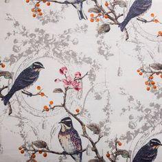 Hertex Collection - Paradise  Wonderland Opal Pattern Print, Print Patterns, Hertex Fabrics, Bird On Branch, Boutique Ideas, Fabulous Fabrics, French Decor, Fabric Wallpaper, Colour Schemes