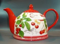 Pottery Teapot / Dekor Scottish Cherry / 1.5 Liter: Amazon.co.uk: Kitchen  Home