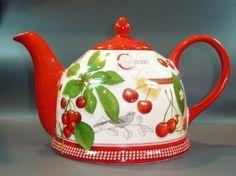 Pottery Teapot / Dekor Scottish Cherry / 1.5 Liter: Amazon.co.uk: Kitchen Home