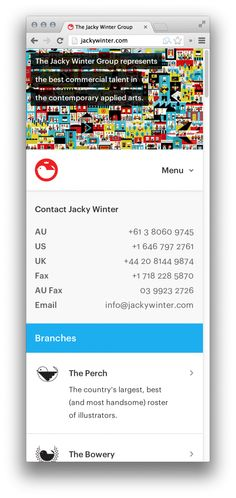 The Jacky Winter Group (responsive layout: narrow window)