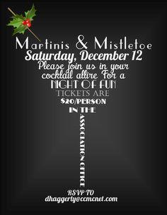 Martinis & Mistletoe Adult Holiday Party Invitation 2014