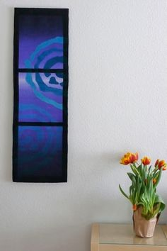 Rebecca Mezoff, Tapestry Artist, Emergence VI hanging in the client's home.
