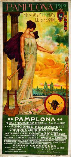 Cartel de los Sanfermines de 1919 - Fiestas y ferias de San Fermín, Pamplona :: Autor: Enrique Zubiri.