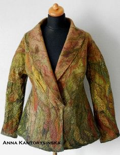 READY TO SHIP. nuno feltet jacked TREE, wearable art, felted jacket, wool silk jacket, unique felted jacket, artistic jacket, Nuno felt Boho by Kantorysinska  Nuno felted jacket TREE, handmade, made a special technique of applying felt on silk, which ensures its durability in the colors of autumn leaves. Shades of red-haired, beige, olive green and bottled green with the addition of warm browns. Hand shaded applications of silk create a decorative pattern. Felted jacked is made from 100…