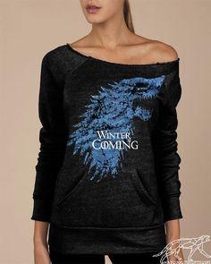 Winter Is Coming Game of Thrones Soft Sexy Eco-Fleece Alternative Apparel Black Maniac Sweatshirt Boatneck. $42.00, via Etsy.