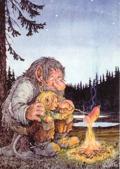 Right in the childhood :D I love Rolf Lidbergs illustrations! Forest Creatures, Fantasy Creatures, Les Moomins, Los Trolls, Vikings, Elves And Fairies, Fairy Art, Faeries, Gnomes