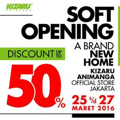 Get ready for #KZRJKT341 @kizaruanimanga KIZARU ANIMANGA JAKARTA : SOFT OPENING - A Brand New Home - A new 'home sweet home' for the real AnimeLovers!  @ Plaza Blok M Jakarta 3rd Floor #341. March '25th - 27th.  Get DISCOUNT up to 50% !!!  DOOR PRIZE with total prize more than a Million Rupiah. Woohoo  Save the date and location! See you very soon