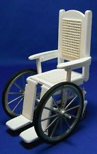 Doll miniature handcrafted Medical wheelchair wood white 1:12th scale
