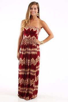 Jagged Edge Maxi, burgundy $44 www.themintjulepboutique.com