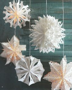 3D paper snowflakes. They work in the summer too.