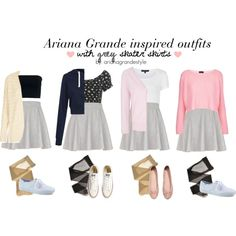 Ariana grande inspired outfits with grey skater skirt.