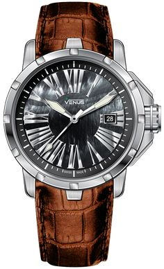 Time-Date Quartz, 316L stainless steel with anti-allergic, light brown and genuine calf leather and  black of pearl dial with silver roman numerals, Genesis Collection for Ladies