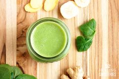 Green smoothie with Apple, spinach and ginger by Healing Smoothies.