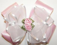 Dressy Hair Bow, Pink White Bows, Organza Satin Rose Flower, Baby Hair Barrette, Girls Toddler Accessory, Flower Girl Bow, Pageant Hair Clip