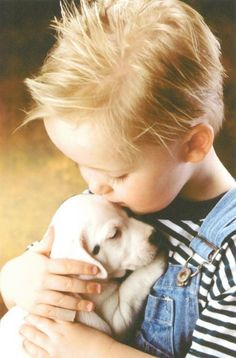 ♡ little boy and his puppy picture