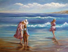 New - Day At The Beach, An Original Acrylic Fine Art Painting Capturing a Mother and her children at the beach