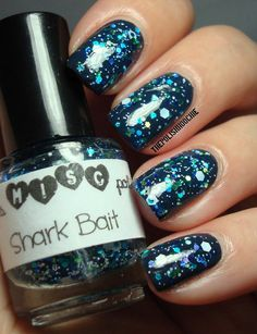 ThePolishHoochie  Trelly's MISC Shark Bait over Essie Baubing for Baubles :) Nails.