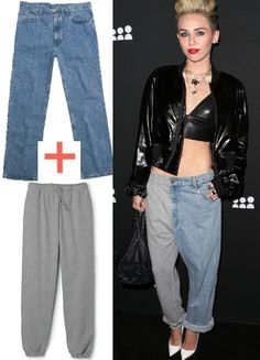 Ready to hit the red carpet? Miley Cyrus is with a cross between sweat pants and jeans!! We wonder if this look is going to catch on.