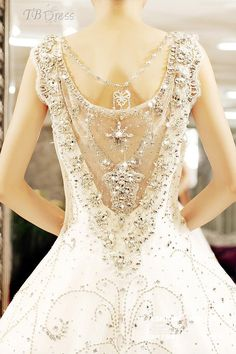 Most Popular Ball Gown Floor-length Straps Beading Tiered Cathedral Train Wedding Dress