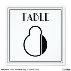 Art Deco Table Number 8 5.25x5.25 Square Paper Invitation Card