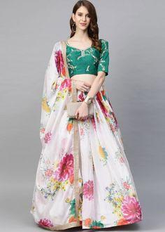 #white #floral #digital #printed #organza #lehenga #choli #designs # traditional #indian #outfits #gorgeous #wedding #look #ootd #new #arrival #womenswear #online #shopping Raw Silk Lehenga, Lehenga Dupatta, Floral Lehenga, Green Lehenga, Lehenga Blouse, Choli Designs, Lehenga Designs, Salwar Kameez, Kurti