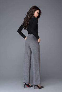 Formal Pants Women, Slacks For Women, Clothes For Women, Slacks Outfit, Maxi Pants, Palazzo Pants, Grey Slacks, Office Outfits, Office Ootd