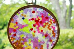 Melted Bead Stained Glass Suncatchers - like that it has directions for melting these OUTSIDE, since our last attempt to make a piece of melted bead art left me concerned that I'd poisoned all of us.