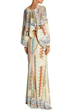 Lace-trimmed printed crepe de chine maxi dress | US | THE OUTNET