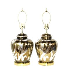 """AND THE WINNER IS:  TA DA.....Bought these last night!!!  Now I need a couple of gold lined brown shades!!!!  LG11""""d PAIR Mercury Glass Ginger Jar Lamps Hollywood Regency Chinoiserie VTG 70s"""