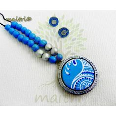 Terracotta Jewellery  - Blue Silver Hand painted Beauty  https://www.facebook.com/maitricrafts.maitri https://www.facebook.com/maitricrafts. maitri_crafts@yahoo.com