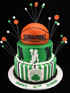 Chocolate mudcakes with milk chocolate ganache and decorated with fondant in a Boston Celtics basketball theme. I hope you have a great party Bonnie and the cake survives this 41 degree heat :)