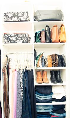I subscribe to the idea that getting dressed should be a fun, enjoyable experience and an organized closet that's also aesthetically pleasing is crucial. My tips are pretty basic - use the same hangers to create a cohesive look, keep like-minded items together and edit often.