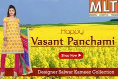 Flaunt in style with suits in yellow hues this season. MLT Suits wishes you a Happy Vasant Panchami 2015 | Let's welcome the blossom full-heartedly!
