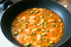 Okro / okra gravy with prawns. easy, quick sauce.