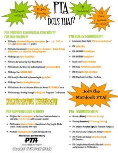 PTA Does That Flyer Pin point out important and annual events and programs we help sponsor or put together ourselves.