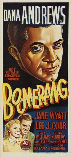 Boomerang, 1947 film directed by Elia Kazan Old Movie Posters, Classic Movie Posters, Cinema Posters, Movie Poster Art, Classic Movies, Alfred Hitchcock, Old Movies, Vintage Movies, Martin Scorsese