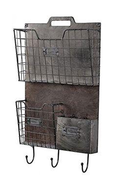 Rustic Metal Wall Organizer Mail Holder Key Leash Holder File Box