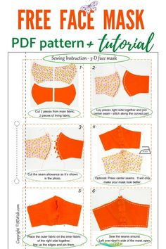 Free pattern for face mask  <br> Easy Sewing Patterns, Sewing Tutorials, Sewing Hacks, Pattern Sewing, Sewing Projects For Beginners, Small Sewing Projects, Sewing Crafts, Easy Face Masks, Diy Face Mask