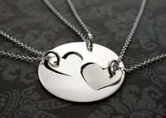 Mother & Daughter Necklace Set - Hand Cut Hearts Design in Sterling Silver by Eclectic Wendy Designs - Two Daughter Design on Etsy, $110.00